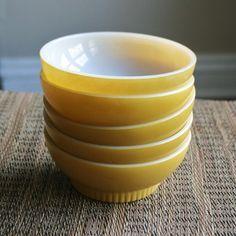 Fire King Mustard Yellow Custard Bowls