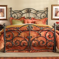 Wesley Allen Iron Furniture from Home Gallery Stores, an authorized dealer, has the guaranteed lowest price, free* delivery and in-home setup* nationwide. Over 1000 items include metal beds. Wrought Iron Bed Frames, Wrought Iron Headboard, Wrought Iron Decor, Headboard And Footboard, Headboards For Beds, King Headboard, Metal Bed Frames, Metal Headboards, Brass Headboard