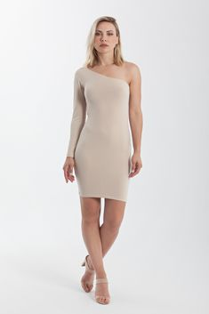 One shoulder jersey bodycon mini dress with one long sleeve Beige Dresses, Tight Dresses, Nude Dress, Office Looks, Pencil Skirts, Dress Party, Styling Tips, Wardrobe Staples, Confident