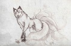 ::kitsune:: by rouxberry Amazing Drawings, Cool Drawings, Fantasy Creatures, Mythical Creatures, Fuchs Illustration, Fox Drawing, Fox Spirit, Fantasy Drawings, Fox Tattoo