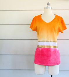 WobiSobi: Color Blocked, Tie Dye T-Shirt.