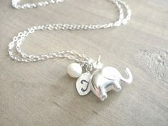 Cute!! Personalized Elephant Necklace in Sterling Silver, $28.00