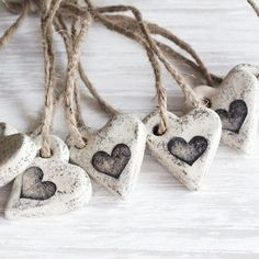 Set of six rustic cottage chic heart ornaments. Use them as wedding or guest favors, napkin ties, tag attachments, tree décor, etc. Salt Dough Ornaments, Clay Ornaments, Handmade Ornaments, Cottage Chic, Rustic Cottage, Ornament Wedding Favors, Heart Diy, Heart Crafts, Heart Ornament
