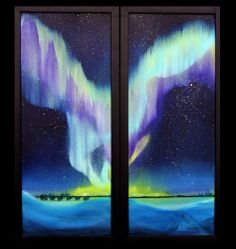 Winter's Grasp is oil on canvas of the Northern Lights in Alaska by Inupiat artist, Susan Ringstad Emery.