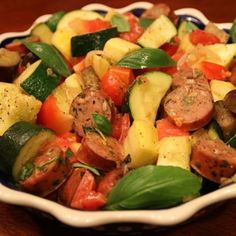 Sausage Ratatouille - Chicken sausage, zucchini, yellow squash, and red bell peppers make this a colorful, tasty dish!