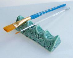 Porcelain Artist Brush Rest by PotterybySumiko on Etsy