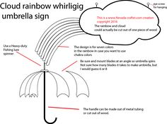 Cloud rainbow sign with whirligig umbrella - sign is optional