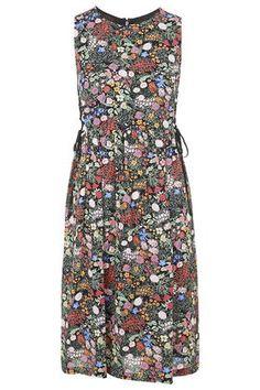 Woodland Print Tie-Side Midi Dress