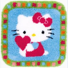 """Smyrnatapijt """"Hello Kitty"""": om zelf te knopen op voorgeschilderd stramien"""