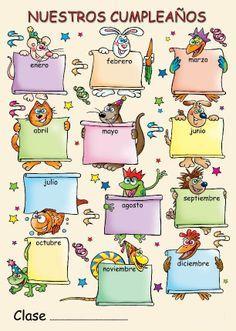 The Language Stickers Company ( Spanish poster - Nuestros cumpleaños Classroom Birthday, Birthday Board, Spanish Teacher, Spanish Classroom, Classroom Walls, Classroom Decor, Birthday Charts, School Clipart, Birthday Calendar