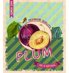 Plum retro poster vector by macrovector on VectorStock®
