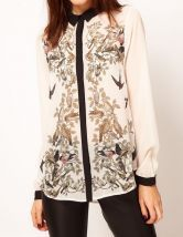 Beige Long Sleeve Birds Print Chiffon Blouse $23.55    #SheInside #hipster #love #cute #fashion #style #vintage