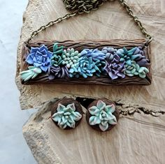 Succulent jewelry set earrings stud polymer clay от sofoxyclay