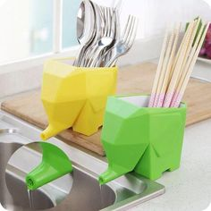 Wholesale cheap kitchen cutlery storage box online, brand - Find best elephant shape draining device sundries storage box creative kitchen cutlery storage box chopsticks cup toothbrush holder at discount prices from Chinese storage bottles & jars supplier - fan0207 on DHgate.com.