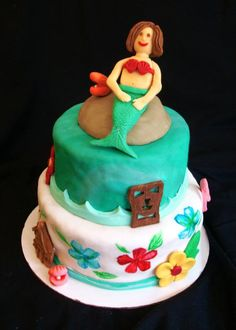 Island cake! Island Birthday Party. Hawaiian Birthday. Hawaiian Party. Luau. Perfect for an island Birthday party.  Details include hand painted flowers, and 3d tiki mask, shell with pearl, tropical hut, flower, flamingo and a mermaid of the birthday girl.