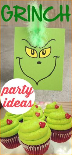 The Grinch Who Stole Christmas. Great party ideas for a December birthday Christmas party or classroom Christmas party. Grinch Bingo Grinch Cupcakes Grinch Greeting Cards Grinch Masks and more. Grinch Party, Grinch Christmas Party, Grinch Who Stole Christmas, Christmas Cupcakes, Noel Christmas, Xmas Party, Christmas Goodies, Christmas Birthday, Family Christmas