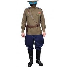 Soviet aviation old-style military uniform. The uniform consists of jacket with 1 medal & shoulder boards and riding breeches with blue piping. Riding Breeches, Army Surplus, Soviet Union, Hat Sizes, World War Two, Air Force, Military Jacket, Jackets, Blue