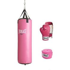 45e3b23a9849 Sports Outdoors Exercise Fitness Boxing Boxing BagsThis Everlast 70 lb  Heavy Bag Kit comes complete with pink boxing gloves with Velcro closures  and hand ...