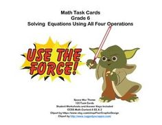 Aligned with CCSS.Math.Content.6 EE.A.2This product has 120 Task Cards to provide practice solving for an unknown in each of the four operations. The collection is themed with a fun space war theme to make the practice more engaging for your students.Student Worksheets and Answer Keys IncludedLooking for math materials?Math Practice