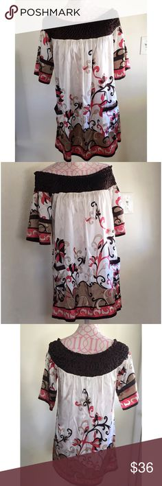 NWT BEBE SILK SMOCK DRESS NWT Bebe off the shoulder printed smock dress. Front pockets. Size small. Bust approximately 36 inches. Length approximately 30 inches. 95% silk/5% spandex bebe Dresses Mini