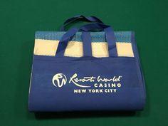 "Resorts World Casino, NYC 36"" x 70"" Outdoor Plastic Webbing Mat w/Pillow, Folds"