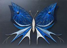 Papillon dart String  Papillon bleu  Clous et chaînes art