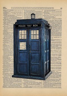 The Original TARDIS Doctor Who Geek Print on an Antique Upcycled Bookpage. $8.00, via Etsy.