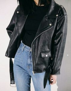 High rise jeans & leather jacket