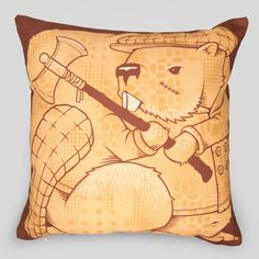 Upper Playground - The Beavers Pillow by Jeremy Fish