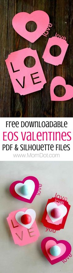 EOS Valentines, Tweens, Teens and Teachers! No candy and perfectly giftable Valentine- free PDF and Silhouette files too!