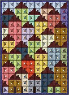 Log cabin neighbourhood pattern - a variation of the other, similar one on this board (above) entitled 'Log Cabin Houses'