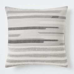 Silk Ikat Striated Pillow Cover - Platinum | west elm