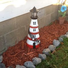 Fell in love with the clay pot lighthouse. So, of course I had to do one of my own. This Beauty now has a home in my garden. What an amazing way to reuse those old clay pots sitting in my garage! :)