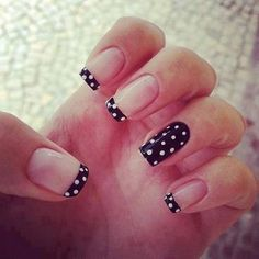 I really hate the whole one nail different trend, that being said, I would just do my tips with the polka dots, it's so cute.