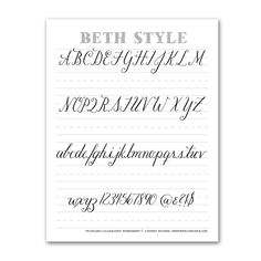 Enjoy this free calligraphy worksheet to practice Beth style calligraphy! Calligraphy Worksheet, Learn Calligraphy, Calligraphy Letters, Modern Calligraphy, Calligraphy Classes, Caligraphy Alphabet, Script Lettering, Brush Lettering, Typography
