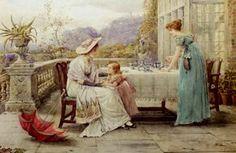 George Goodwin Kilburne (British, 1839 - 1924) - Afternoon Tea (1897)