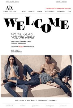 Armani Exchange welcome email 3/2014