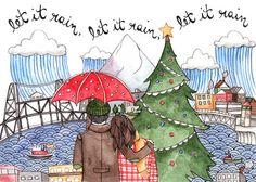 Cutest Portland Christmas card ever! Let it Rain Portland Card Pack of 8 by thelittlecanoe on Etsy, $20.00