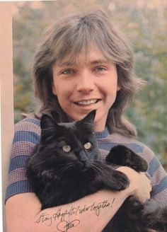 Almost! David (Cassidy) and cat. Still cute! Pinned by: www.spinstersguide.com