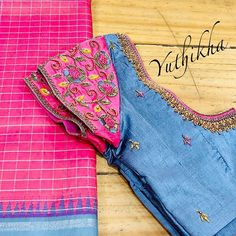 Customised embroidered Blouses from the house of Yuthikha Karur !! Wear your simple unique blouses with us !!! Kundan antique work…