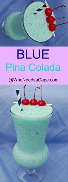 Blue Pina Colada Cocktail perfect for poolside sipping!