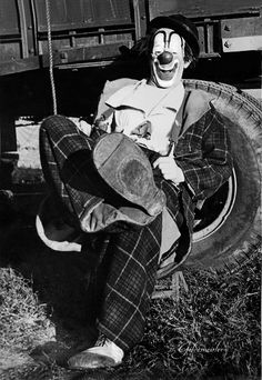 Lou Jacobs… Just taking it easy in the back yard between shows. 1958.