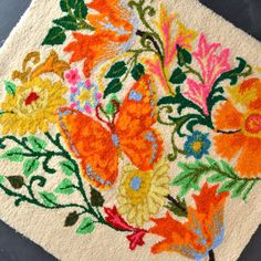 Vintage Latch Hook Rug - Wall Hanging - Bright Colors - Flowers - Butterfly