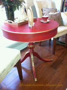 Emperor's Red Table Makeover-love this red, got to be a place for it somewhere in my house