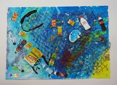 43 Super Ideas For Recycled Art Projects For Kids Ocean art projects for kids upcycling Ocean Projects, Recycled Art Projects, Diy Art Projects, Cool Science Fair Projects, Environment Painting, Disney Concept Art, Toddler Art, Art Lessons Elementary, Environmental Art