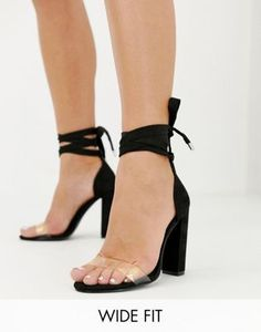 Shop ASOS DESIGN Wide Fit Witness barely there block heeled sandals at ASOS. Discover fashion online.
