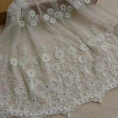 Beautiful Embroidery Floral Lace Trim Wide White by lacelindsay