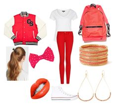 """""""Red School Day"""" by audreysupreme ❤ liked on Polyvore featuring Zalando, MANGO, Converse, L. Erickson, Forever 21, Vanessa Mooney and Victoria's Secret PINK"""