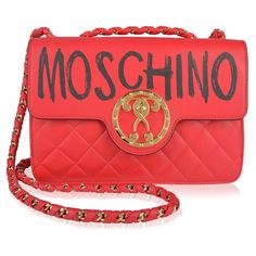 MOSCHINO Graffiti Logo Shoulder Bag (£1,030) ❤ liked on Polyvore featuring bags, handbags, shoulder bags, quilted leather purse, shoulder handbags, red leather shoulder bag, moschino handbags and red leather handbags