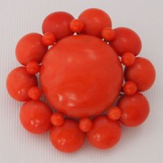 Victorian Finely Matched Button Coral Brooch In A Cluster Motif, Set In 14k Yellow Gold - Italian  c.1850-1860